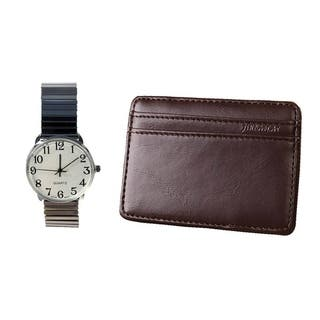 Mens ilver Easy Read Stretch Band Watch and Slim Money Holder - Silver|https://ak1.ostkcdn.com/images/products/12153435/P19007287.jpg?impolicy=medium