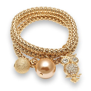 18k Rose Goldplated Owl Charm Stretch Triple Bracelet