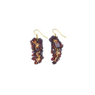 Genuine Garnet Gemstone Cluster Dangle Earrings