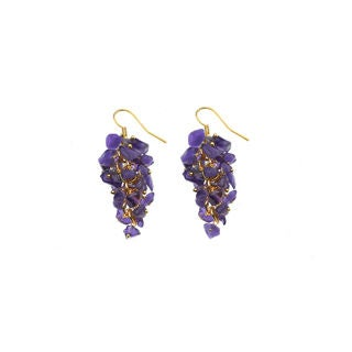Genuine Labradorite Gemstone Purple Cluster Grape Dangling Earrings