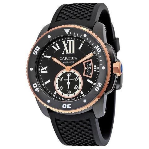 Cartier Men's W2CA0004 'Calibre De Cartier Diver' 18kt Rose Gold Automatic Black Rubber Watch