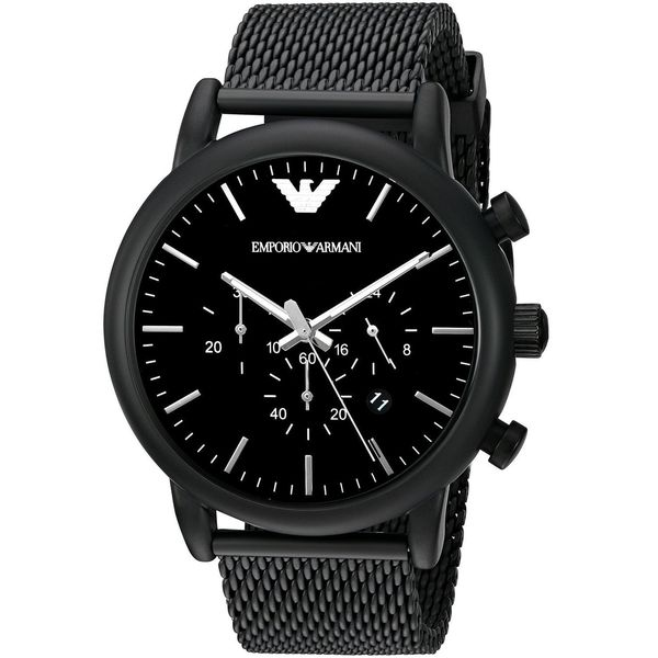 7fa865fba Shop Emporio Armani Men's AR1968 'Luigi' Chronograph Black Stainless Steel  Watch - Free Shipping Today - Overstock - 12154920