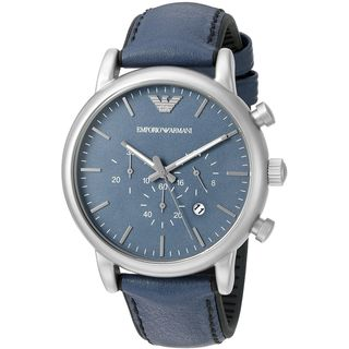 Emporio Armani Men's AR1969 'Luigi' Chronograph Blue Leather Watch