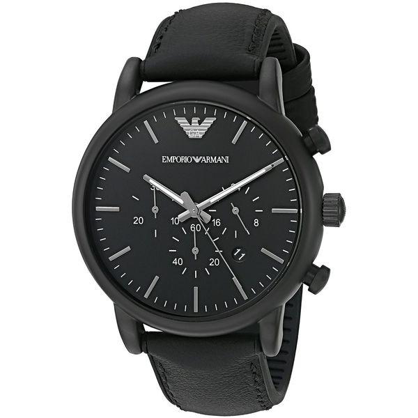 4575bbeb Emporio Armani Men's AR1970 'Luigi' Chronograph Black Leather Watch
