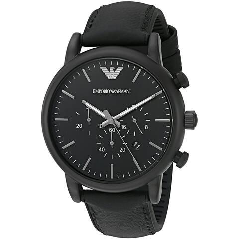 3346ef66260b Emporio Armani Men s AR1970  Luigi  Chronograph Black Leather Watch