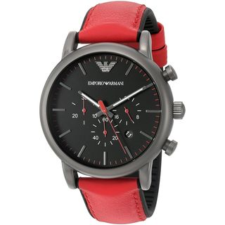 Emporio Armani Men's AR1971 'Luigi' Chronograph Red and Black Leather Watch