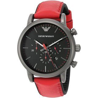 Emporio Armani Men's AR1971 'Luigi' Chronograph Red and Black Leather Watch