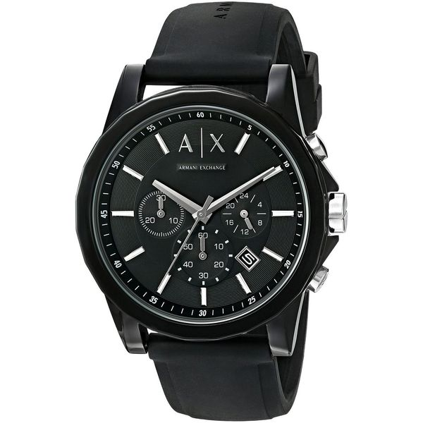 Shop Armani Exchange Unisex AX1326  Active  Chronograph Black Silicone Watch  - Free Shipping Today - Overstock - 12154934 e27a1198b4