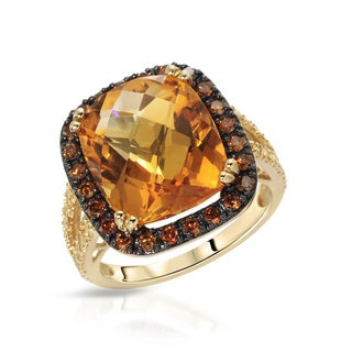 Fay Pay Jewels 14k Yellow Gold 8.80-carat Citrine, White Diamond, and Fancy Intense Enhanced Red Diamond Size 7 Ring