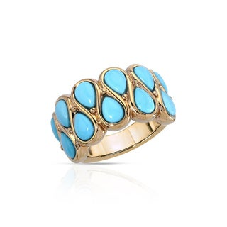 Fay Pay Jewels 14k Yellow Gold 4.32 CTW Sky Blue Turquoise Size 6 Ring