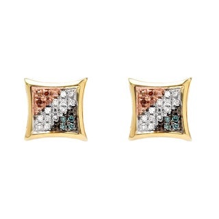 Elora 18k Yellow Gold over Silver 1/10ct TDW Diamond Micro Pave Stud Earrings (I-J, I2-I3)