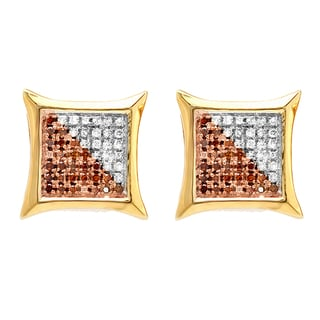 Elora 18k Yellow Goldplated Sterling Silver 1/4ct TDW Red and White Diamond Stud Earrings (I-J, I2-I3)