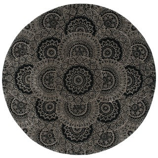 Nourison 2000 Black/Grey Area Rug (4' Round)