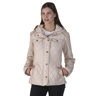 Women's Beige Quilted Polyfill Jacket
