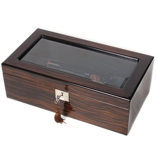 Gun or Knife Ebony Wood Glass-top Collector Box
