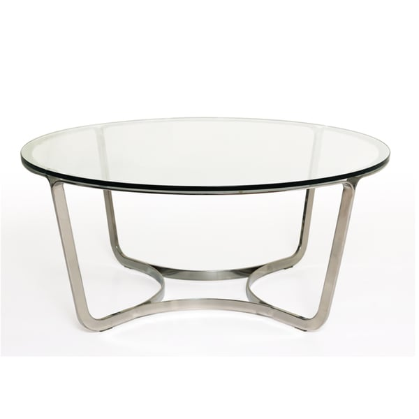 Blake Glass Stainless Steel Round Coffee Table Free Shipping Today