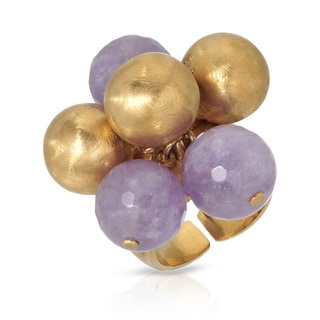 Adami and Martucci Yellow Gold Plated Silver Purple Amethyst Ring
