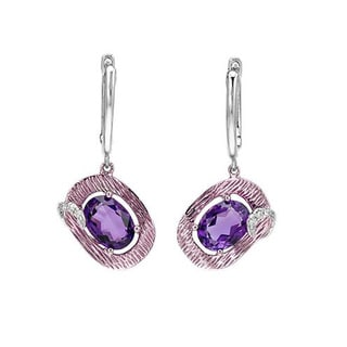 Fay Pay Jewels 14k Two-tone Gold 1.62k Purple Amethyst G-H Diamond Earrings