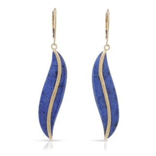 Fay Pay Jewels 14k Gold 41.40 CTW Dumortierite Earrings