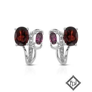 Fay Pay Jewels 14k Gold Diamond, Garnet Earrings