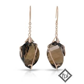 Fay Pay Jewels 14k Gold 27.68c Total Weight Quartz Earrings