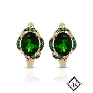 Fay Pay Jewels 14k Yellow Gold 2 5/8ct TW Diopside Earrings