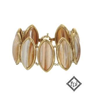 Fay Pay Jewels 14k Yellow Gold 168 3/4ct TW Agate Bracelet