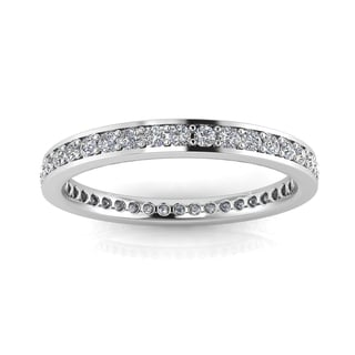 Platinum 5/8ct TDW Round-cut Diamond Channel Pave-set Eternity Ring