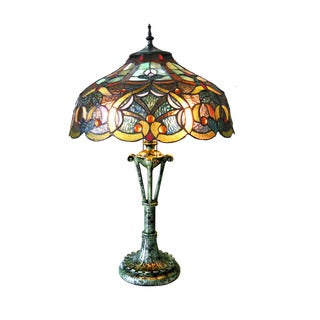 Chloe Tiffany Style Victorian Design 2 Light Textured Green Table Lamp