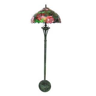 Chloe Tiffany Style Floral Design 2-light Antique Bronze Floor Lamp