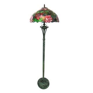 Chloe Tiffany Style Floral Design 2-light Antique Bronze Floor Lamp