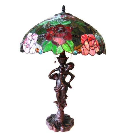 Tiffany Style Floral Design 2-light Antique Bronze Table Lamp