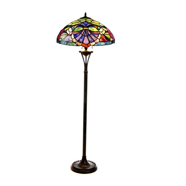Shop Tiffany Style Floral Design Light Antique Bronze Floor Lamp Free Shipping Today