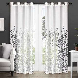 Wilshire Burnout Sheer Grommet Top Curtain Panel Pair 84-inch in White(As Is Item)