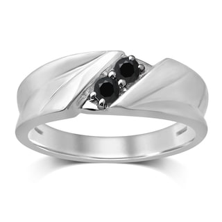 Unending Love 10k White Gold 1/4-carat TW Treated Black Diamond 2-stone Gent Band