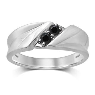 Unending Love 10k White Gold 1/4-carat TW Treated Black Diamond 2-stone Gent Band