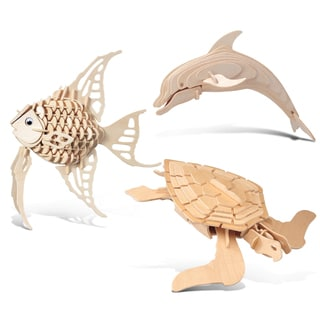 Puzzled Angel Fish/Bottle Nose Dolphin/Green Turtle Wooden 3D Puzzle Construction Kit