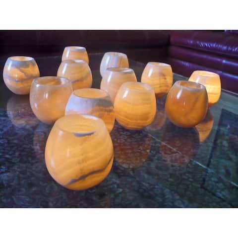Handmade Amon Golden Tea Light Votive, Set of 12 (Egypt)