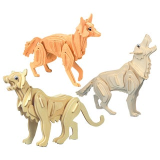 Puzzled Mountain Wooden Lion, Wolf, and Coyote 3D Puzzle Construction Kit