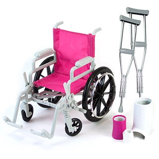 Doll Wheelchair Crutches, Casts, and Bandage Set for 18-inch Dolls