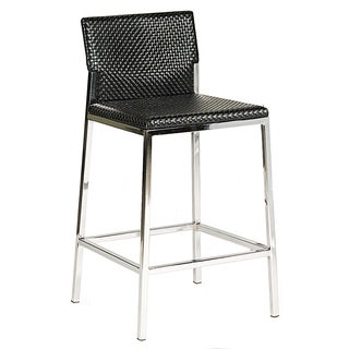 Bellini Modern Living Black Faux Leather Chrome Bar Stool
