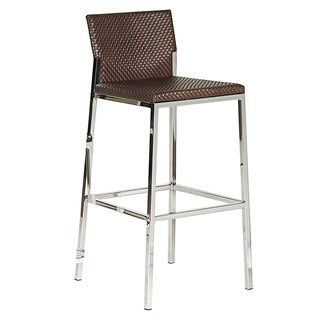 Brown Faux Leather Chrome Bar Stool