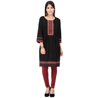 In-Sattva Ethnicity Women's Indian Elegant Embroidered Yoke Pleated Kurta Tunic