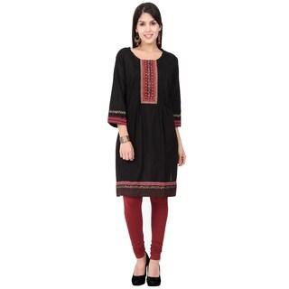 In-Sattva Ethnicity Women's Indian Elegant Embroidered Yoke Pleated Kurta Tunic (3 options available)