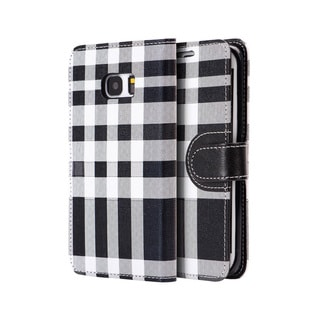 Samsung Galaxy S7 Black Synthetic Leather Plaid Wallet With Card Slot