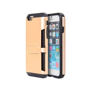 Apple Iphone 6 6S Gold Hybrid Clip Card Case With Lock Stand