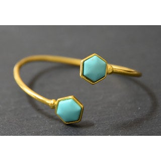 Mint Jules Raw Turquoise Hexagon Goldplated Adjustable Cuff Bangle Bracelet