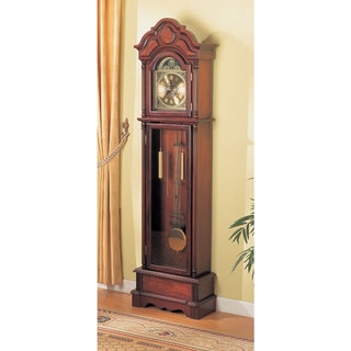 """Coaster Company Cherry Wood Grandfather Clock with Chime - 22"""" x 10"""" x 78.50"""""""