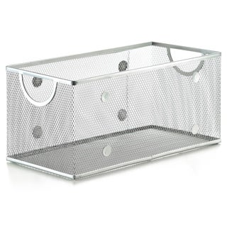 Silver Stainless Steel Mesh Open Bin Storage Basket Organizer