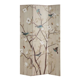 Floral and Bird Folding Three-panel Screen